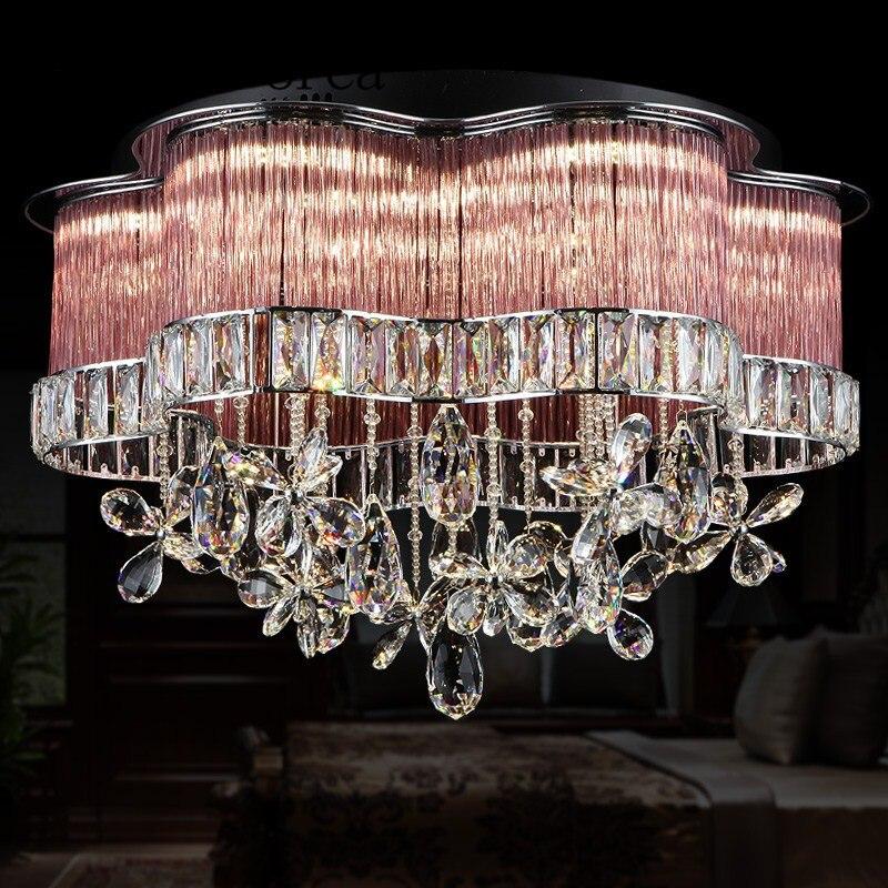 Светодиодный прозрачная люстра легкими круговыми современный простой Гостиная лампы теплый романтический мастер спальня лампа висит ламп