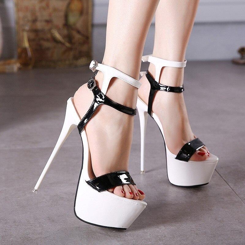 508743286 Tamanho 34 46 Pu Couro Salto Alto Sandálias 16 cm Stripper Sapatos Festa de  Casamento de Verão Sapatos Plataforma Gladiador Das Mulheres sandálias em  ...