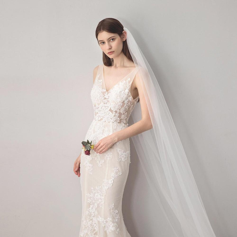 Stock Cheap One Layer Cathedral Length Long Bridal Veil With Comb Cut Edge White Ivory Wedding Accessories voile mariage