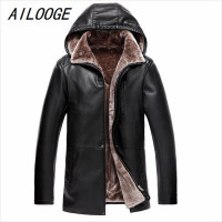 AILOOGE 2017 Brown Leather Jacket Mens Hooded Fur Lining Luxury Fur Clothing Leather Men's Business Jacket Winter Long Overcoat