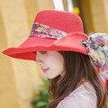 2016 de Moda de Verano Sombrero de Paja de Las Mujeres Sombrero de Encaje Bowknot plegable Grande Ancho Brim Floppy Playa Patchwork Sombrero Hermoso Sol sombrero