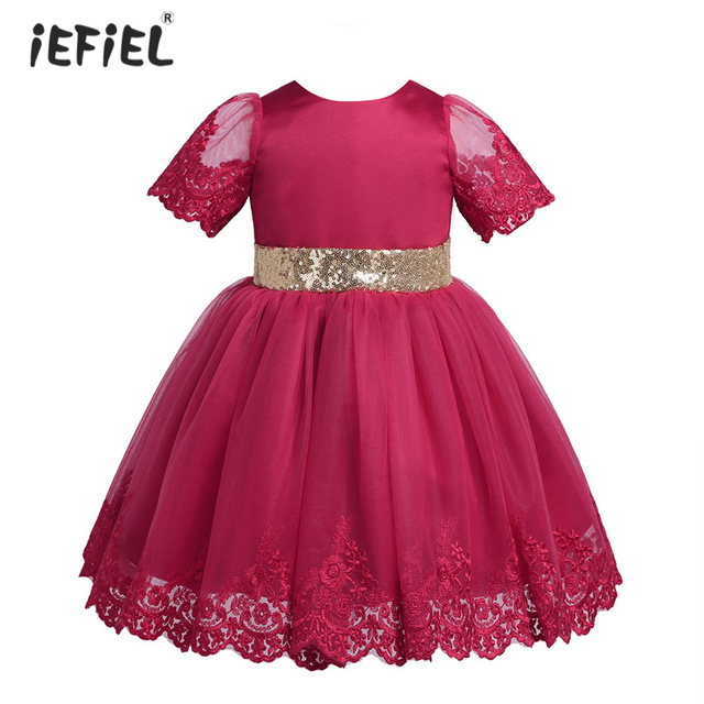 8714fa8b04f6 Baby Girls Embroidered Short Sleeves Sequined Flower Girl Dress ...