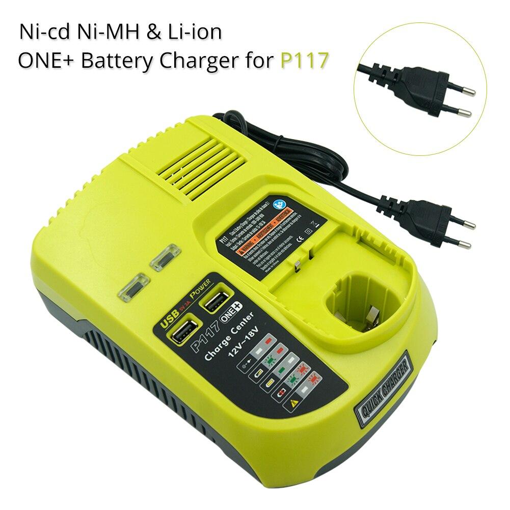 Ni-cad Ni-Mh Li-ion 9.6 V 12 V 14.4 V 18 V MAX chargeur de batterie pour Ryobi P100 P102 P108 RB18L40 P117 One Plus + 2 Ports USB prise EU