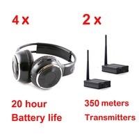 Silent Disco Sound System Headphones (4 folding Headphones + 2 Transmitters)
