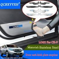 4pcs Car Styling For Honda CRV CR V 2017 2018 Car Door Anti Kick Plate Sequins