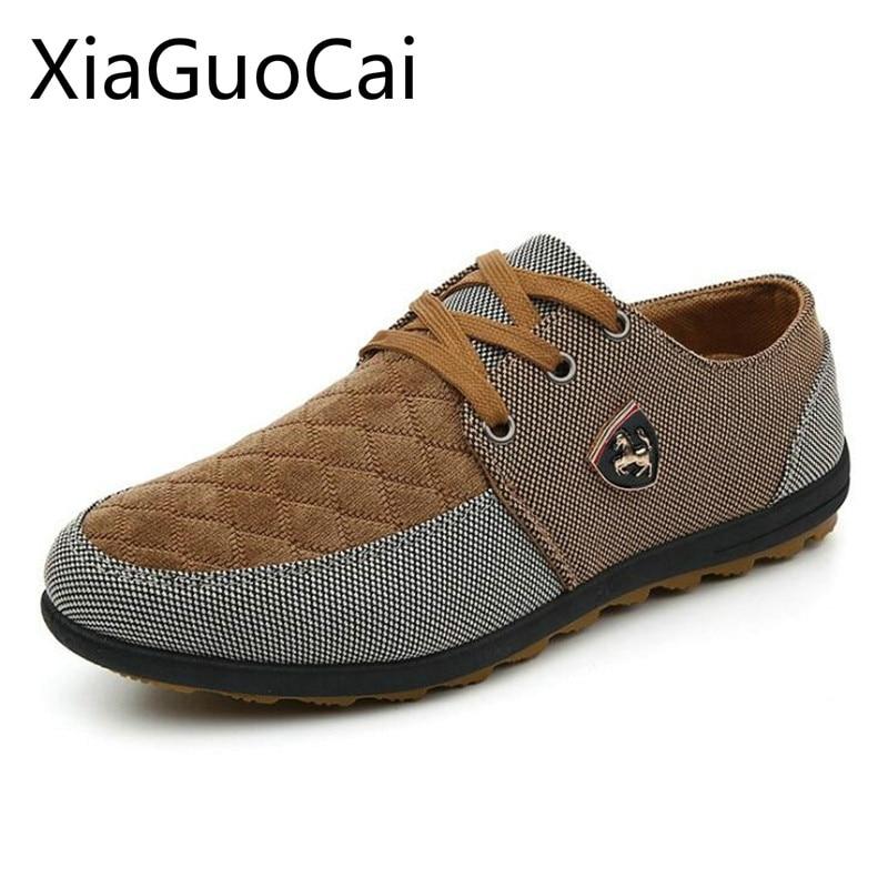 Venta caliente de la manera de los hombres ocasionales planos Zapatos transpirable patchwork Encaje hasta mocasines para hombres moda hombres respirables calzado