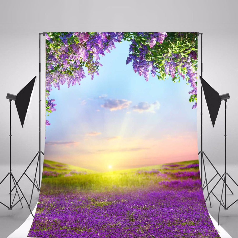 цены Children Photographic Backgrounds Spring Purple Flowers Photo Backdrops Vinyl Backgrounds For Photo Studio Fundo Fotografia
