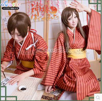 New New Anime Kamisama Love Cosplay Top Role Nanami Momozono Halloween The Original Stripe Kimono Full