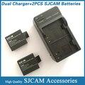 Acessórios sj4000 carregador duplo 2 PCS SJCAM bateria, Para SJCAM sj5000 sj5000plus sj4000 esporte camera