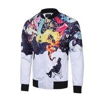 Cloudstyle Men S Brand Jacket Casual Style 3D Printing Outwear Winter Male Jacket Long Sleeve Sportwear