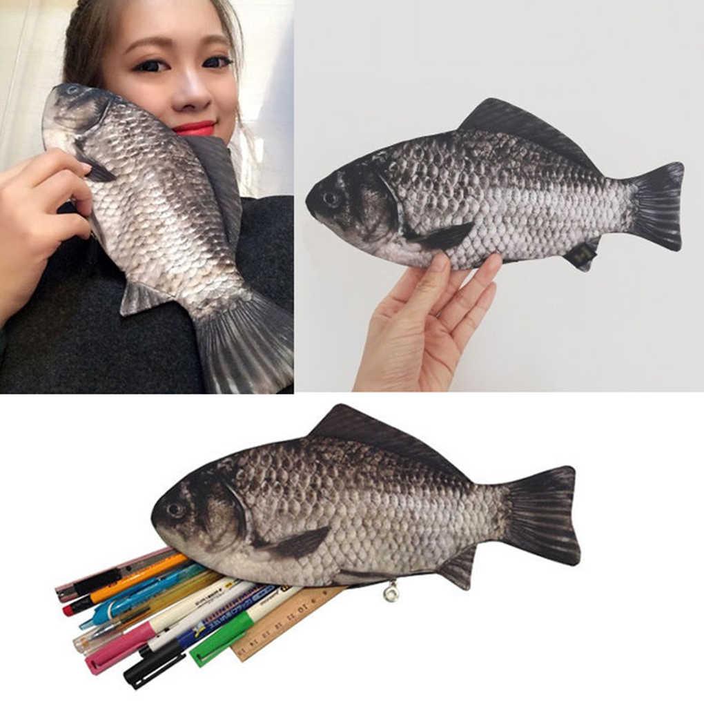Zilveren Karper Echte Vis-Zoals Rits Pen & Make-Up Pouch Etui Grappige Rare