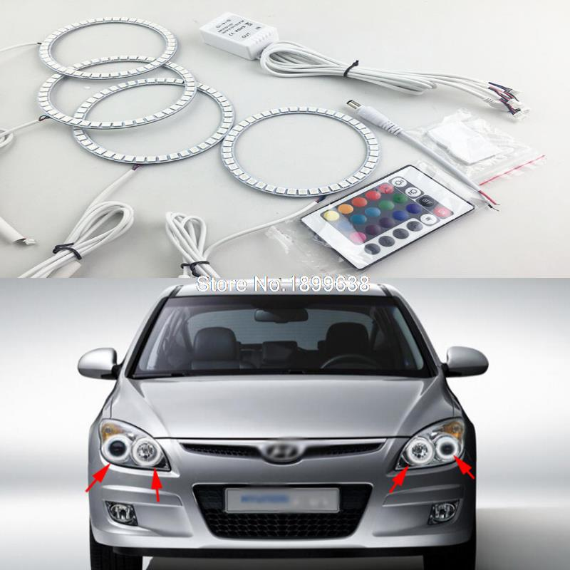 Super bright 7 color RGB LED Angel Eyes Kit with a remote control car styling for Hyundai i30 2008 2009 2010 2011 2pcs super bright rgb led headlight halo angel demon eyes kit with a remote control car styling for ford mustang 2010 2012