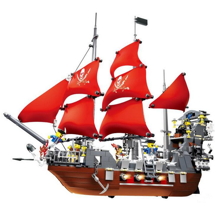 Large Pirate Ship Building Blocks Toys Black Beard Pirates Of The Caribbean Boat Model Bricks Compatible with lepin 22001 pirate ship imperial warships model building block briks toys gift 1717pcs compatible legoed 10210