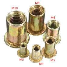 10 шт. многоразмерные гайки из углеродистой стали с плоской головкой, гайки с заклепками, набор гаек, вставные клепки M3 M4 M6 M8 M10
