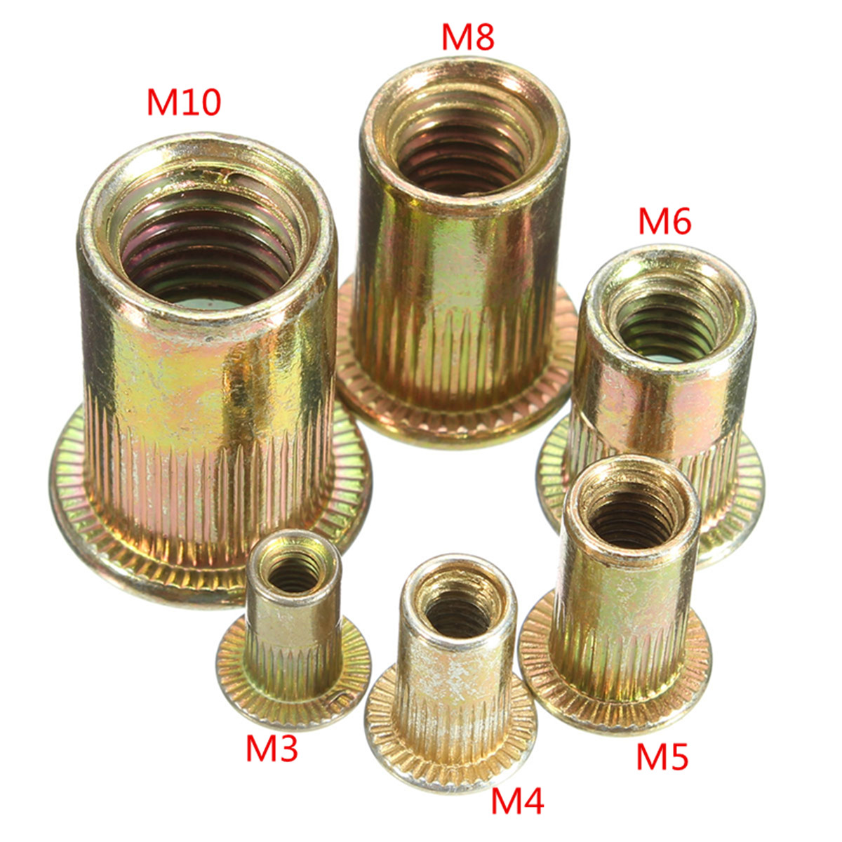10PCS Multi Size Carbon Steel Rivet Nuts Flat Head Rivet Nuts Set Nuts Insert Riveting M3 M4 M6 M8 M10