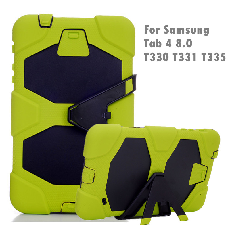 For Samsung Galaxy Tab 4 8.0 T330 Silicone Hybrid Armor Back Case Shockproof Stand Cover for Samsung Galaxy Tab 4 T330 T331 T335