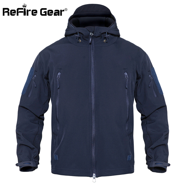 ReFire Gear Waterproof Army Tactical Jacket Men Camouflage Military Jacket Softshell Windbreaker Winter Hooded Coat Hunt Clothes