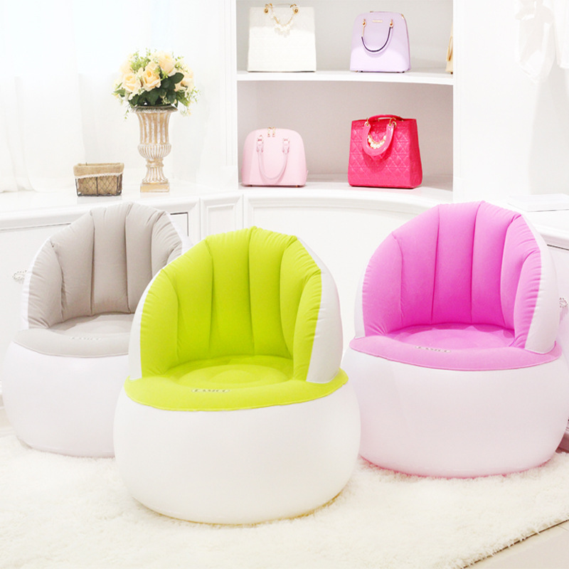 Children's Shell Flocking Inflatable Sofa Leisure Inflatable Seat For Bedroom Kids room Inflatable Chair With Air Inflator Pump