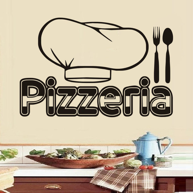 US $12.61 15% OFF|Pizzeria Cutlery Chef Hat Wall Decals Vinyl Art Wall  Stickers Home Decor Pizza Restaurant Decoration Waterproof -in Wall  Stickers ...