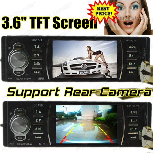 Apoiar câmara de vista traseira, câmera do USB, SD, aux in, 3.6 ''polegadas TFT HD tela Rádio do carro,, 1 din in Dash car audio mp5 estéreo controle remoto