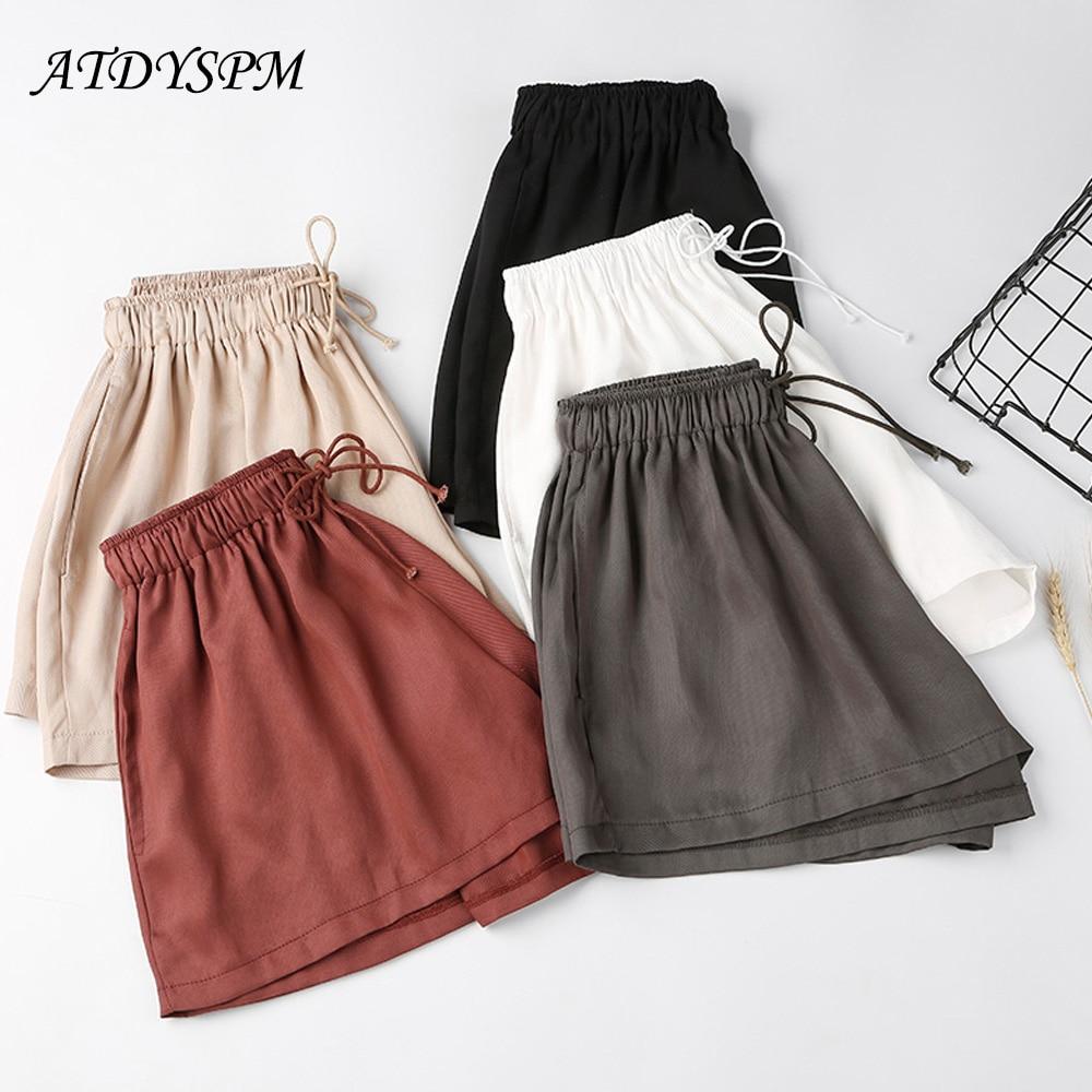 Korean style copper ammonia drawstring elastic waist wide leg   shorts   female summer loose casual   shorts   hot skirt   shorts