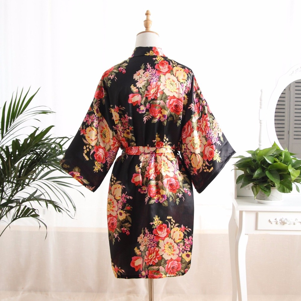 Fashion Floral Bathrobe Ladies Satin Robe Dress Gown Women Elegant Nightgowns Kimono Lady Bathrobe print Nightdress One Size