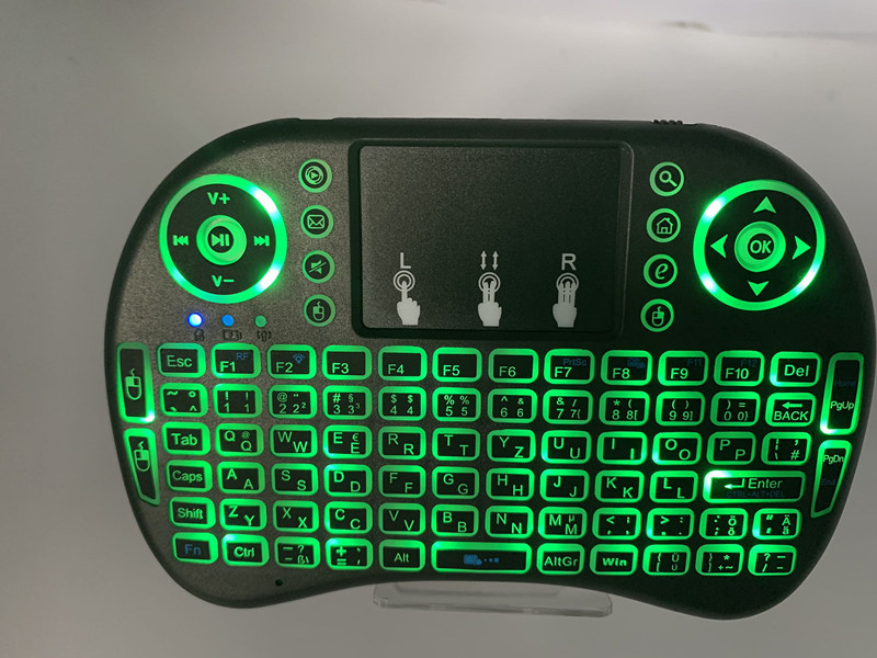 Image 3 - 7 color backlit i8 Mini Wireless Keyboard 2.4ghz English Russian 3 colour Air Mouse with Touchpad Remote Control Android TV Box-in Keyboards from Computer & Office