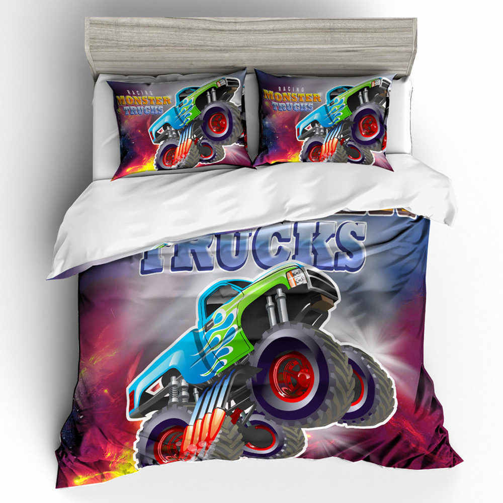 Thumbedding Bunte Bettwäsche Set Cartoon Monster Trucks 3d Bettbezug Set König Größe Twin Voll Königin König Dekorative Bett Set Bettwäsche Sets Aliexpress
