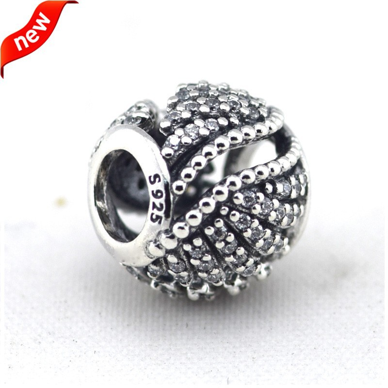 925 Sterling Silver Jewelry Majestic Feathers Original Fashion Chamrs DIY Beads Fits Pandora Bracelets CKK
