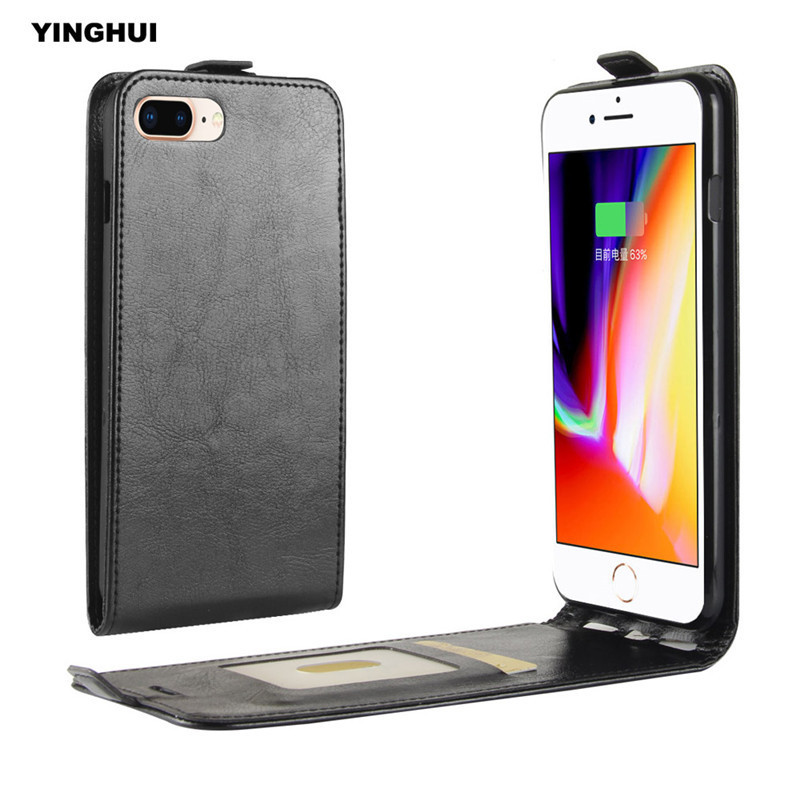 YINGHUI For Apple iPhone 7 Plus Crazy Horse Pattern Leather Phone Case 8 Plus Flip Vertical Coque Bag Cover UP-Down Open 5.5inch
