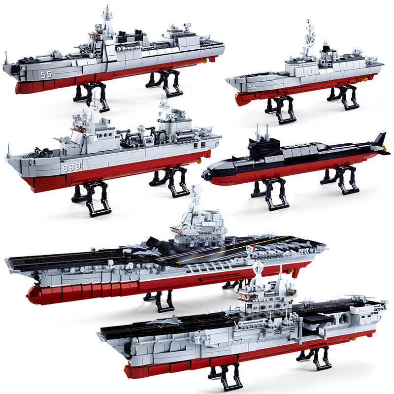 Sluban Military Navy Ship Boat Sets Building Kit Blocks Kids Toys Brick Aircrafted Carrier Creator Diy Army Warship Submarine Aliexpress