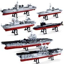 Sluban militar navio da marinha barco conjuntos blocos de construção crianças brinquedos tijolo aircrafted transportadora criador diy exército navio de guerra submarino