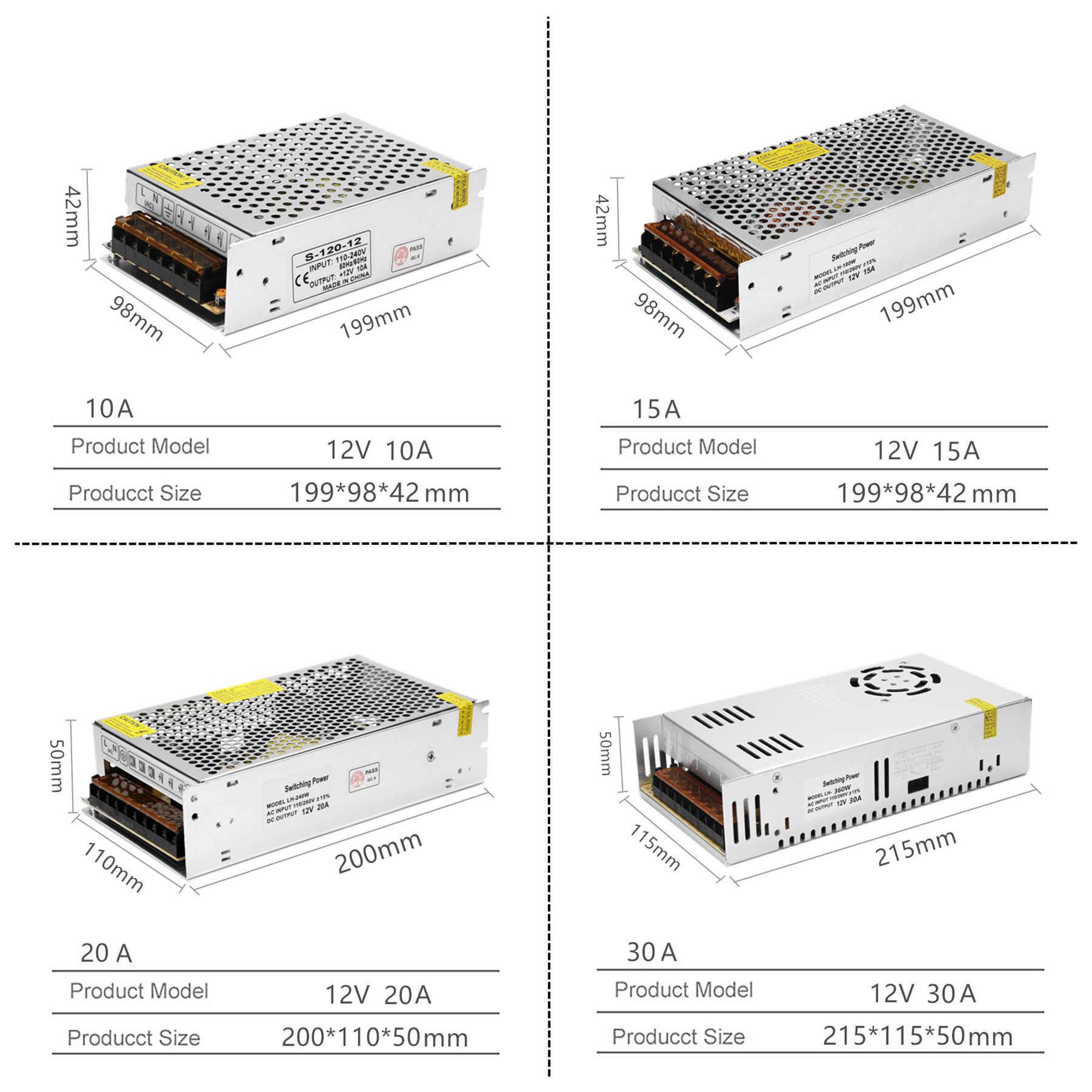 Zasilacz LED sterownik DC 12V mała objętość pojedyncze transformatora 5A 15A 25A 3A dc12v V wyjście przełączanie led taśmy LED 5050