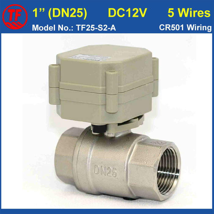 BSP/NPT Stainless Steel 1 DC12V 5 Wires Electric Water Valve DN25 Full Port 2 Way Motorized Valve With Signal Feedback ac110 230v 5 wires 2 way stainless steel dn32 normal close electric ball valve with signal feedback bsp npt 11 4 10nm