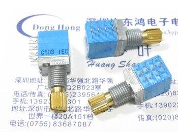 2 sztuk/partia TOCOS RK097 typ precyzyjny potencjometr C50K x 4 wał krokowy długi 15MM 4 kanał dźwiękowy