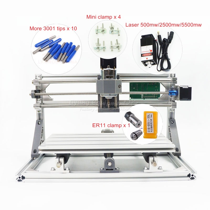 DIY Mini CNC 3018 PRO 500mw 2500mw 5500mw laser head part mini CNC machine Pcb Milling router Carving machine mini cnc router with 500mw laser head pcb milling machine work area 240 170 65mm