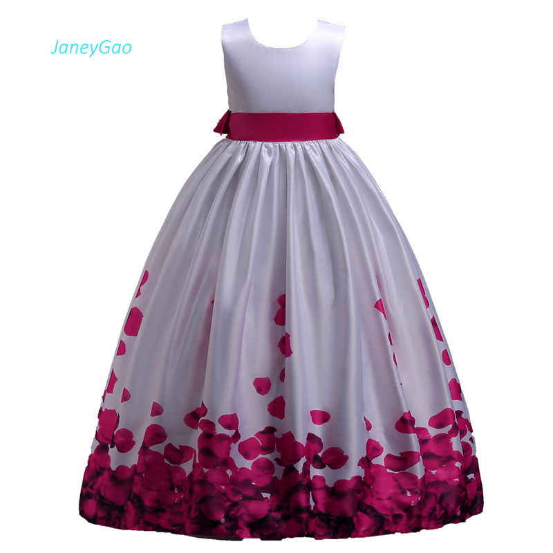 JaneyGao Flower Girl Dresses For Wedding Party First Communion Dress Long With Bow Print Kids Formal