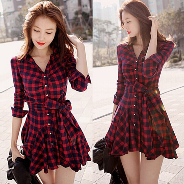 Women\'s Retro Style Long Sleeve Dress Red Plaid Lapel V Neck Shirt Dress Belted Dress Hot