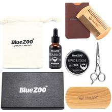 Men Beard Oil Set With Beard Oil,Wax,Comb,Brush,Bag,Beard Cream Scissors Grooming Trimming Male Styling Shaping Moisturizing Kit