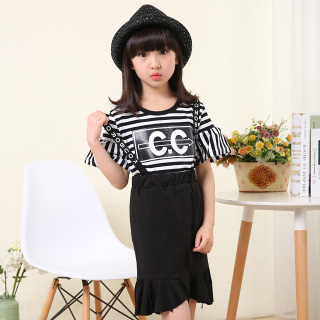 2016 Send New Children's Cothing Sleeve Summer Korean Girls Letter CC Braces Skirt Suits Child Short Sleeved Two Piece Dress