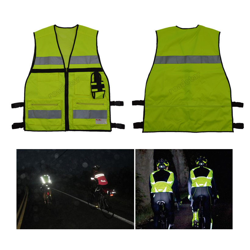 Reflective Road Safety Vest with Multi Functional Pocket for Traffic Safety and Construction Site Free Shipping oumily reflective multi purpose paracord nylon rope cord reflective grey 30m 140kg