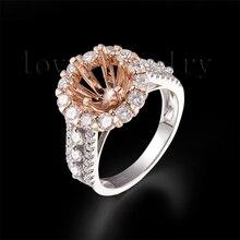 Горячее предложение! круглые 7 мм кольца с полудрагоценным покрытием из твердого 18Kt двухтонного золота, установочные кольца 750 двухтонное золото SR00341A