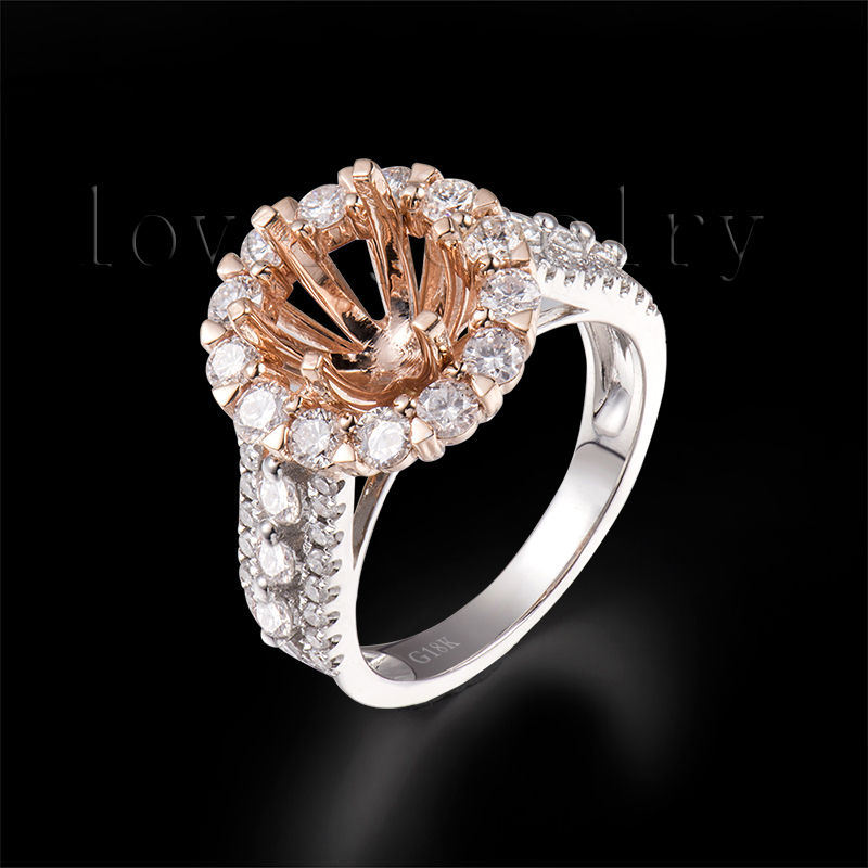 Hot!Round 7mm Diamond Semi Mount Rings Solid 18Kt Two Tone Gold,Setting Rings 750 Two Tone Gold Sale SR00341A