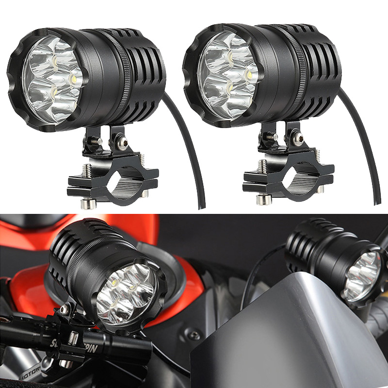 Newest 2PCS 60W Motorcycle Headlights Auxiliary Lamp Led Motorbike Spotlight Accessories 12V Moto Spot Head Lights