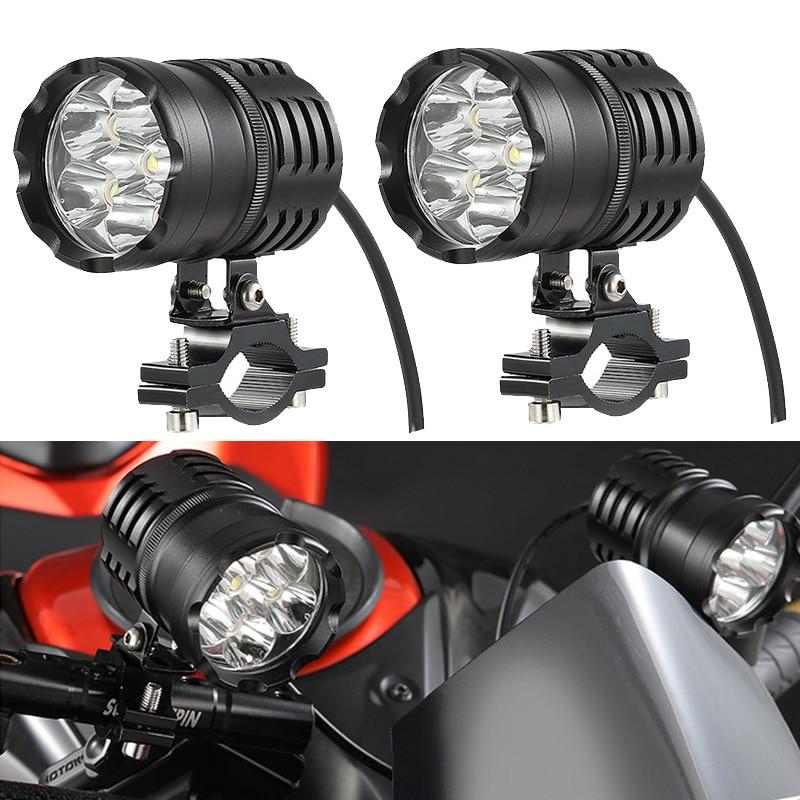 Newest 2PCS 60W Motorcycle Headlights Auxiliary Lamp Led Motorbike Spotlight Accessories 12V Moto Spot Head Lights