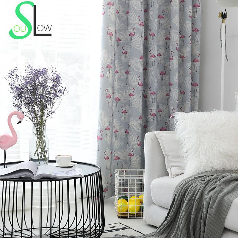 Modern Master Bedroom Curtains Yellow Bedroom Art Interior Design For One Bedroom Apartment Bedroom Carpet Pictures: Flamingo Gray Yellow Bird Curtains Modern Simple Curtain