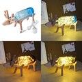 Deer Designed Glass Bottle Lighting Table Lamp Bar Decoration Child US Plug