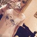 Quente Kwaii Fumar Aliens camiseta mulheres Engraçado tumblr Do Punk 2016 Camisetas Casuais Tripulação Pescoço camiseta femme ET