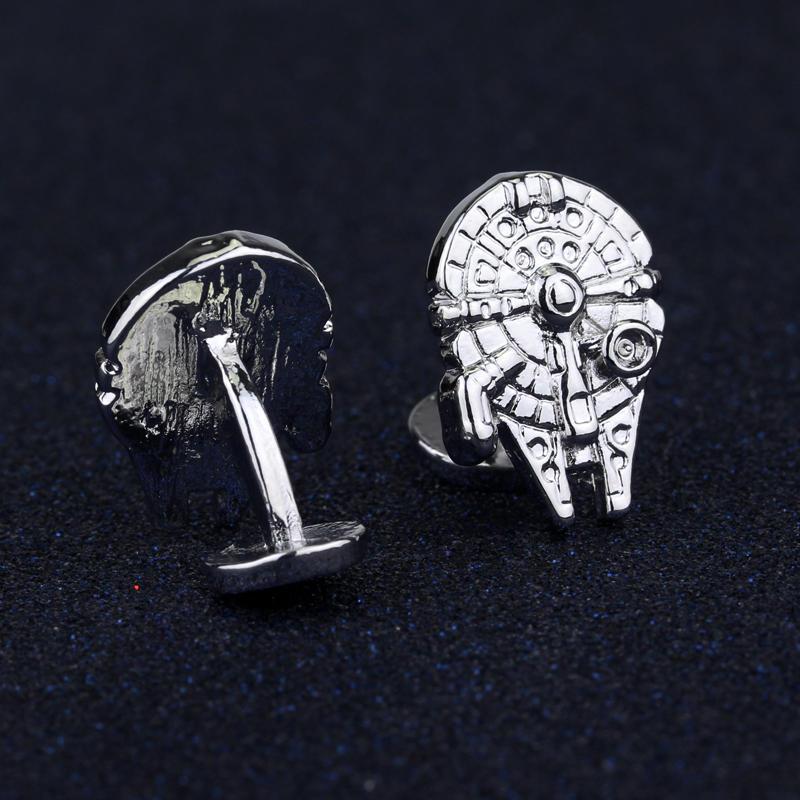 Γυναικεία κοσμήματα μόδας Star Wars Millennium Falcon Μεταλλικά μανικετόκουμπα γενναιόδωρη Ανδρικά μανίκια Bottons Tie Αξεσουάρ Clip Δώρο