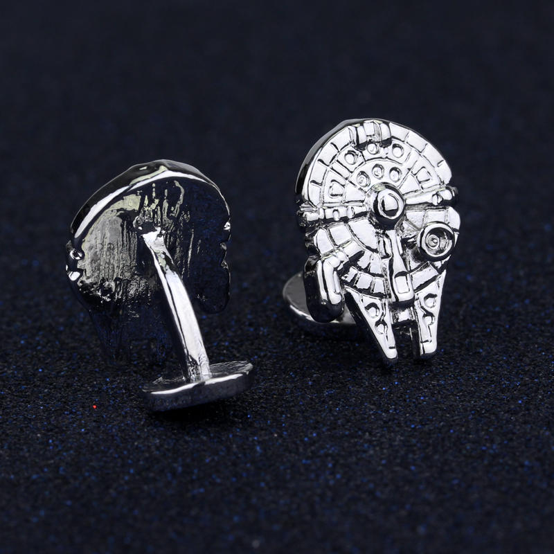 Women Fashion Jewelry Star Wars Millennium Falcon Metal Cufflinks Generous Men Cuff Bottons Tie Clip Accessories Gift